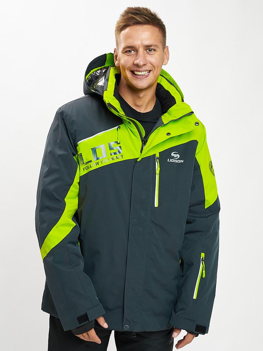 Купить оптом Горнолыжная куртка мужская большого размера зеленого цвета 77029Z в Екатеринбурге
