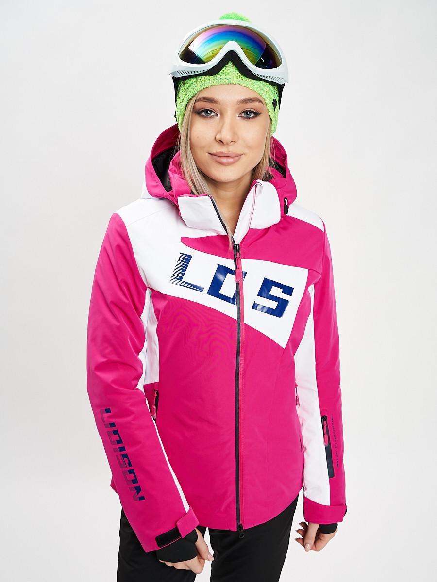 Купить оптом Горнолыжная куртка женская розового цвета 77030R в Екатеринбурге
