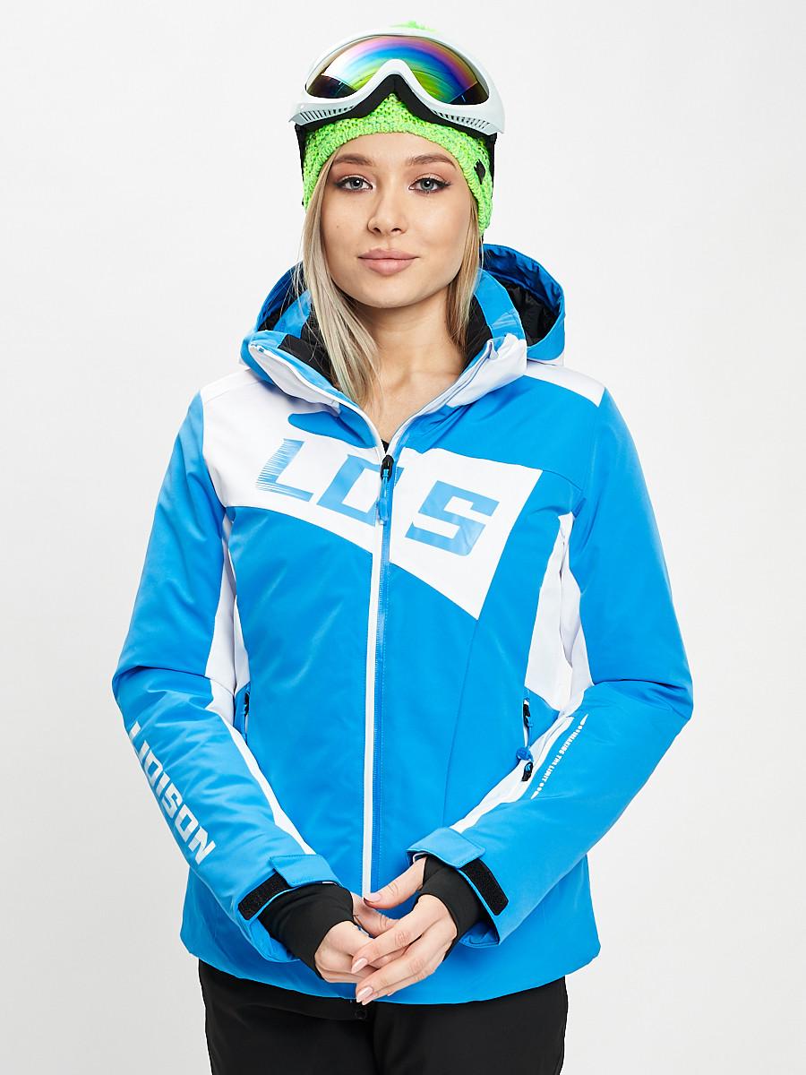 Купить оптом Горнолыжная куртка женская синего цвета 77030S в Екатеринбурге