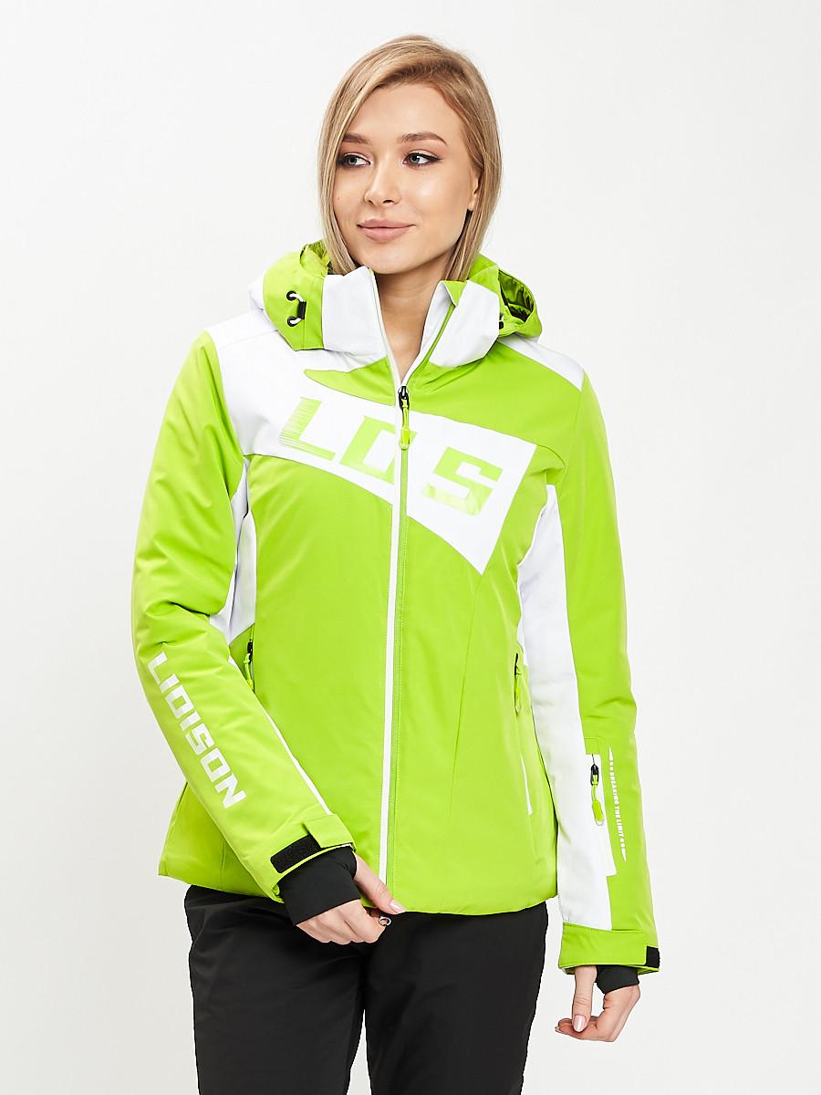 Купить оптом Горнолыжная куртка женская зеленого цвета 77030Z в Екатеринбурге