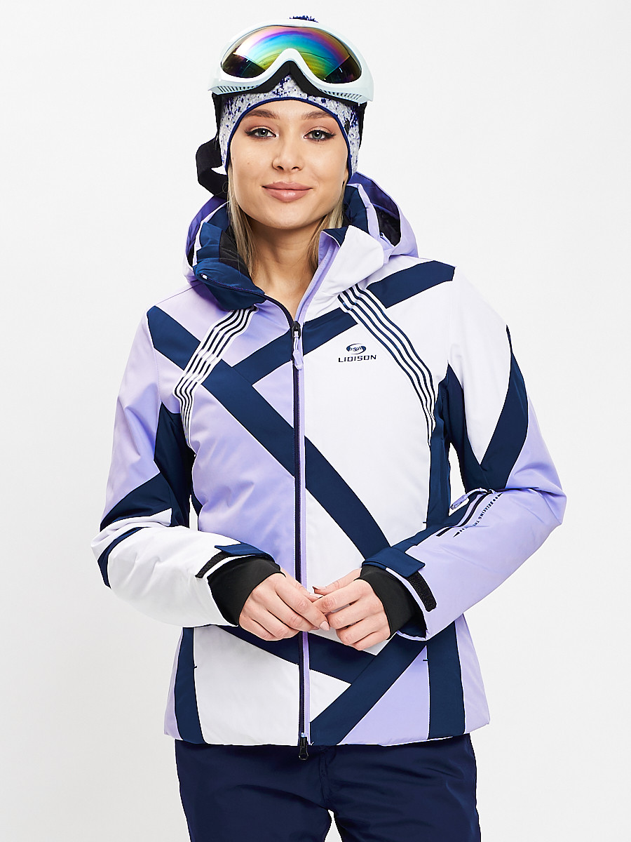 Купить оптом Горнолыжная куртка женская фиолетового цвета 77031F в Екатеринбурге