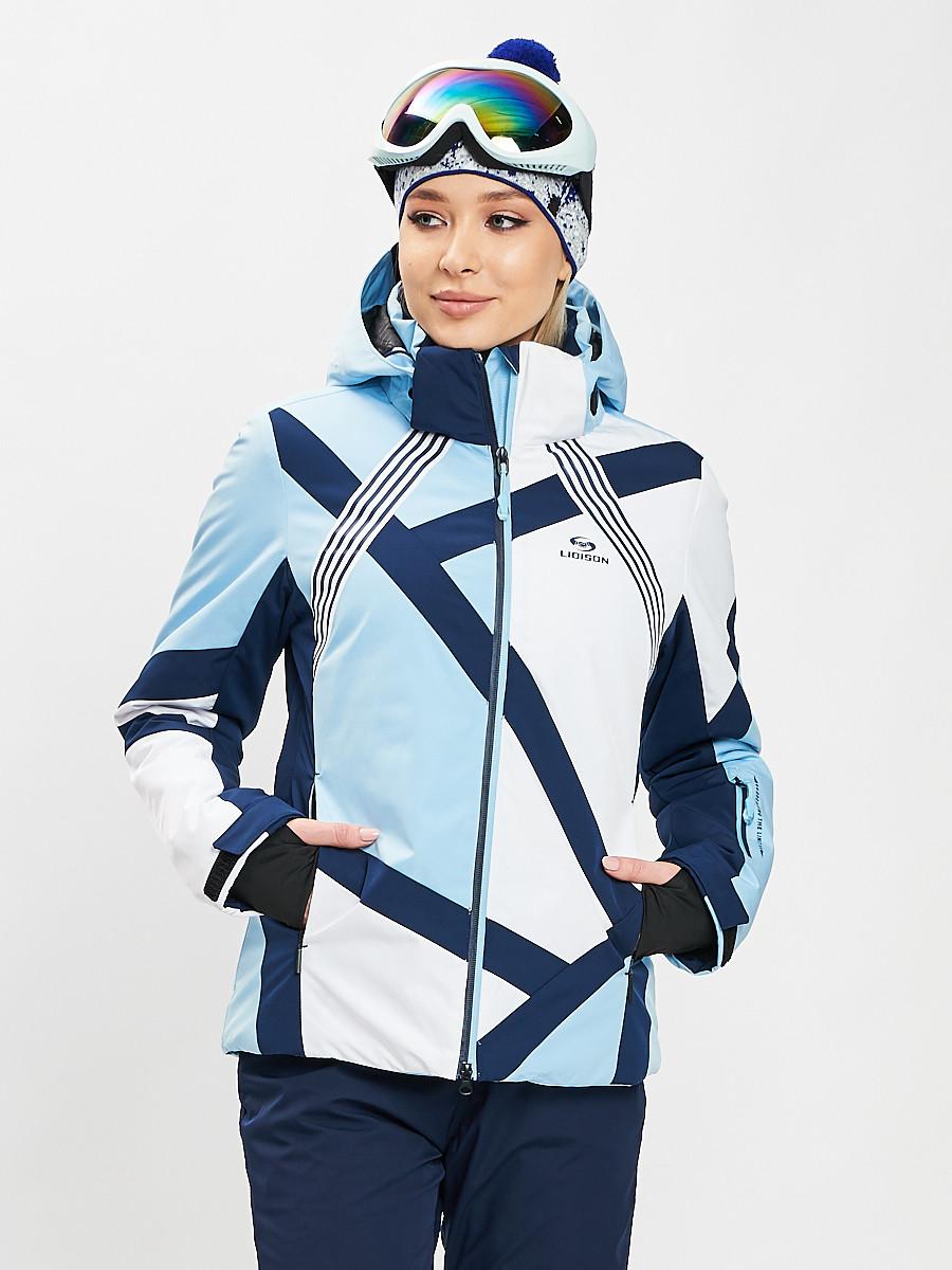 Купить оптом Горнолыжная куртка женская голубого цвета 77031Gl в Екатеринбурге