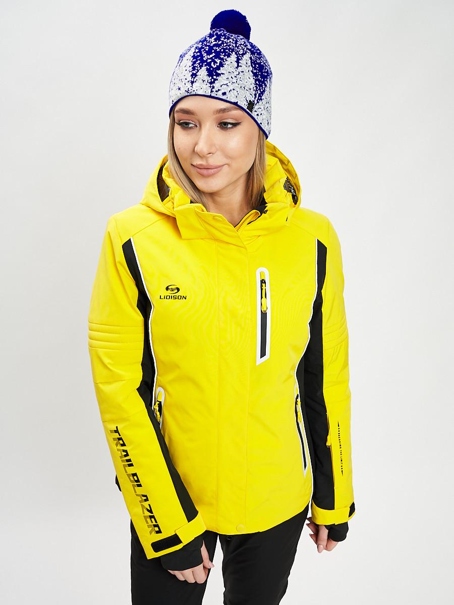 Купить оптом Горнолыжная куртка женская желтого цвета 77034J в Екатеринбурге
