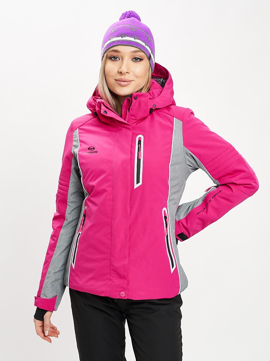 Купить оптом Горнолыжная куртка женская розового цвета 77034R в Екатеринбурге