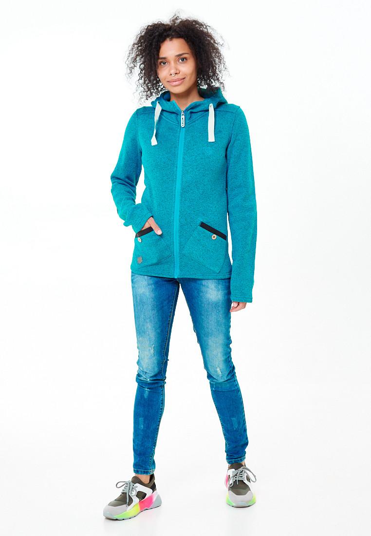 Купить оптом Толстовка женская голубого цвета 7722Gl в  Красноярске
