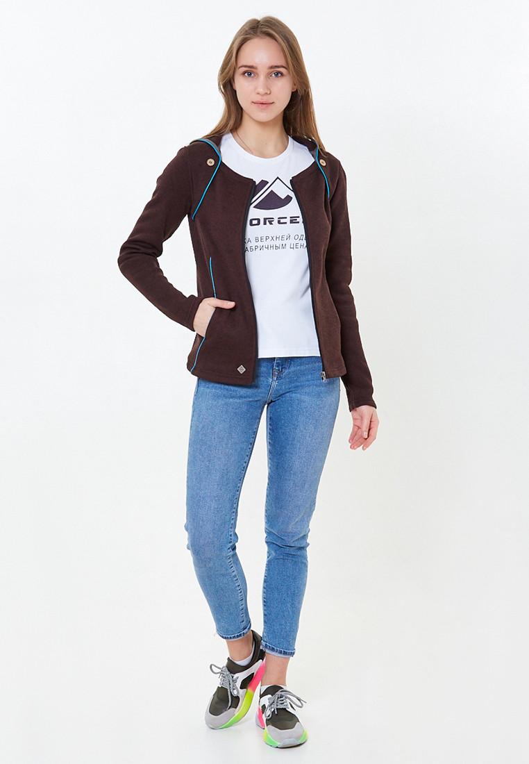 Купить оптом Толстовка женская коричневого цвета 7726K в Екатеринбурге