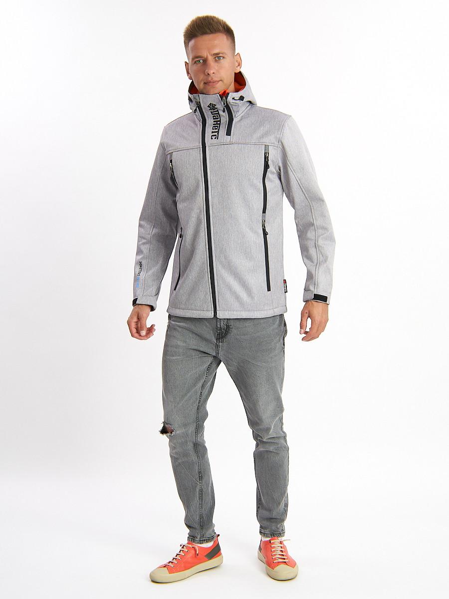 Купить оптом Ветровка мужская светло-серого цвета 775SS в Екатеринбурге