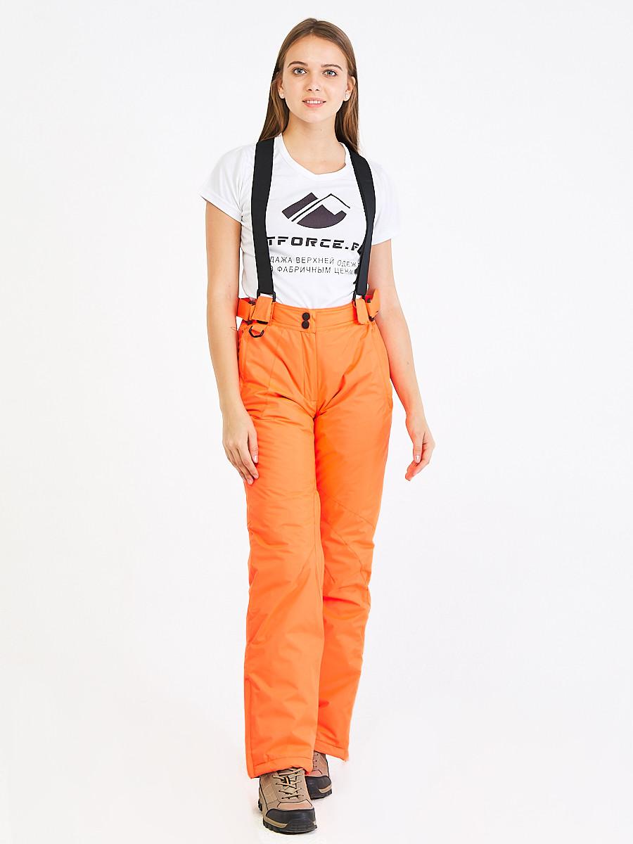 Купить оптом Брюки горнолыжные женские оранжевого цвета 818O в Перми