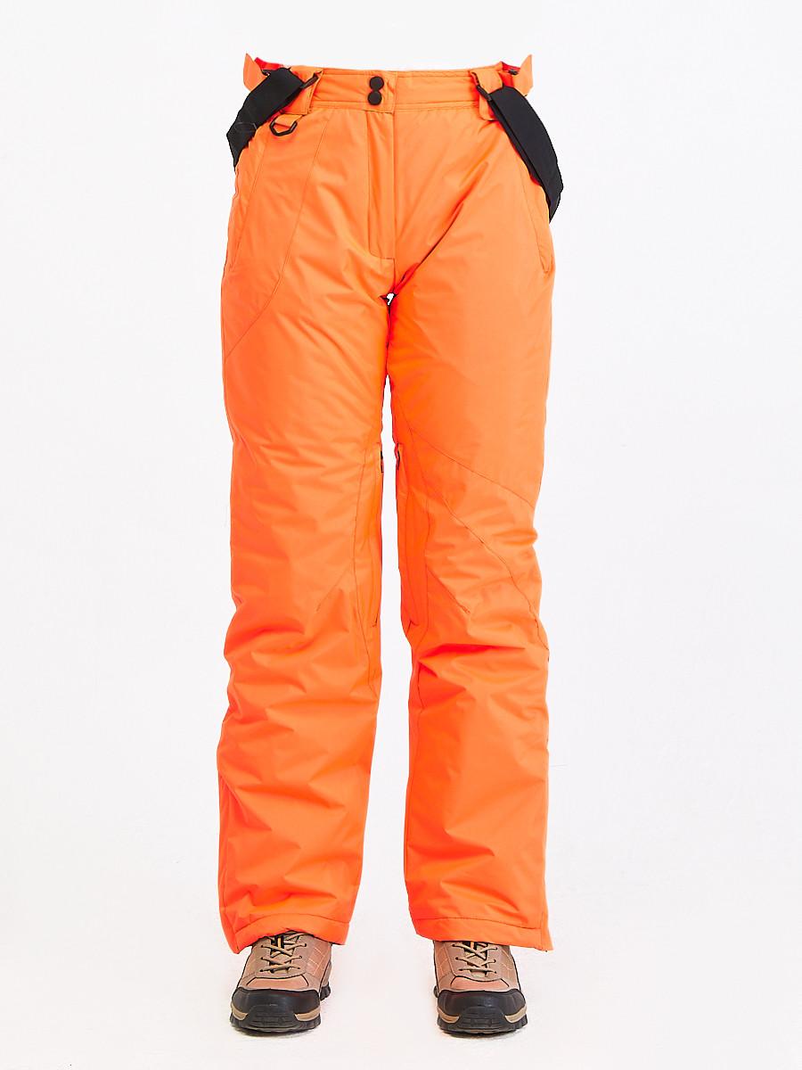 Купить оптом Брюки горнолыжные женские оранжевого цвета 818O в Волгоградке