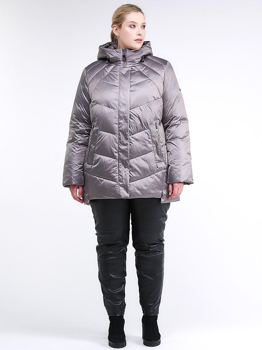 Купить оптом Куртка зимняя женская стеганная коричневого цвета 85-923_48K в Екатеринбурге