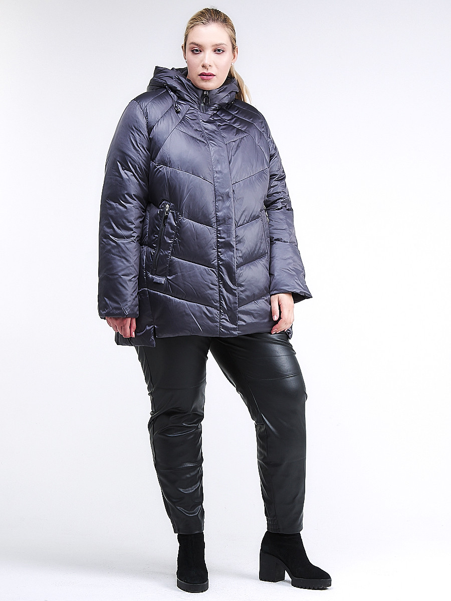 Купить оптом Куртка зимняя женская стеганная темно-фиолетовый цвета 85-923_889TF в Казани