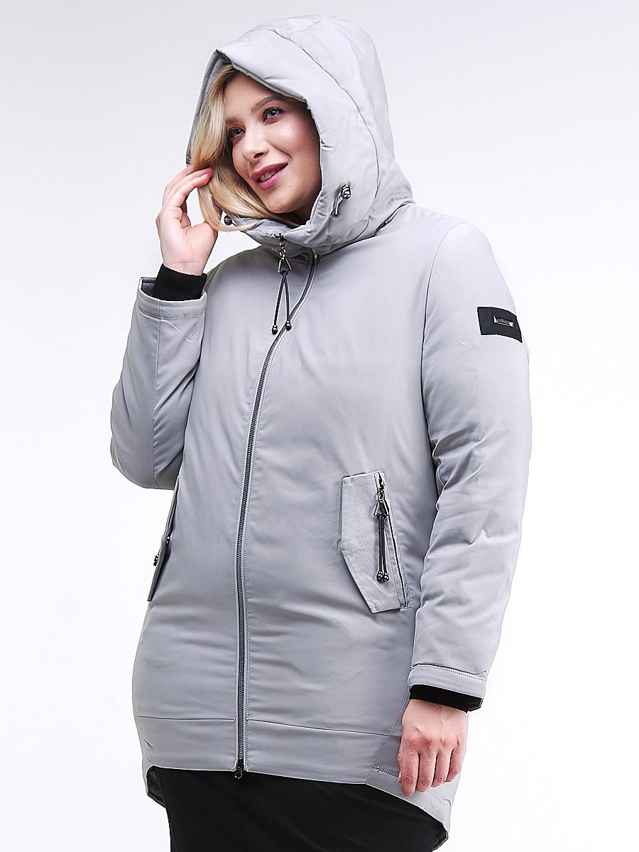 Купить оптом Куртка зимняя женская классическая серого цвета 86-801_20Sr