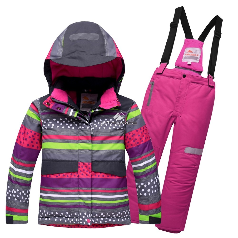 Купить оптом Горнолыжный костюм подростковый для девочки темно-серый 8816TС в  Красноярске