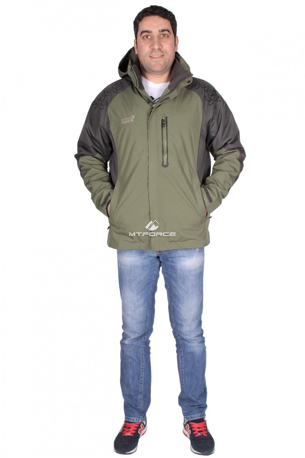 Купить  оптом Куртка мужская три в одном зеленого цвета 86249Z