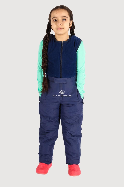 Купить оптом Брюки горнолыжные подростковые для девочки темно-синего цвета 8736TS в Омске