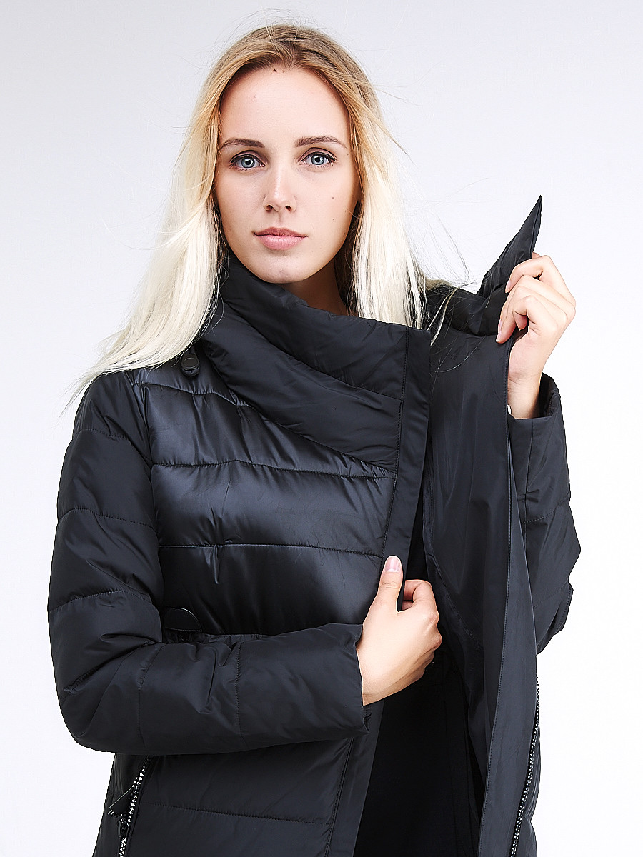 Купить оптом Куртка зимняя женская молодежная стеганная черного цвета 870_01Ch
