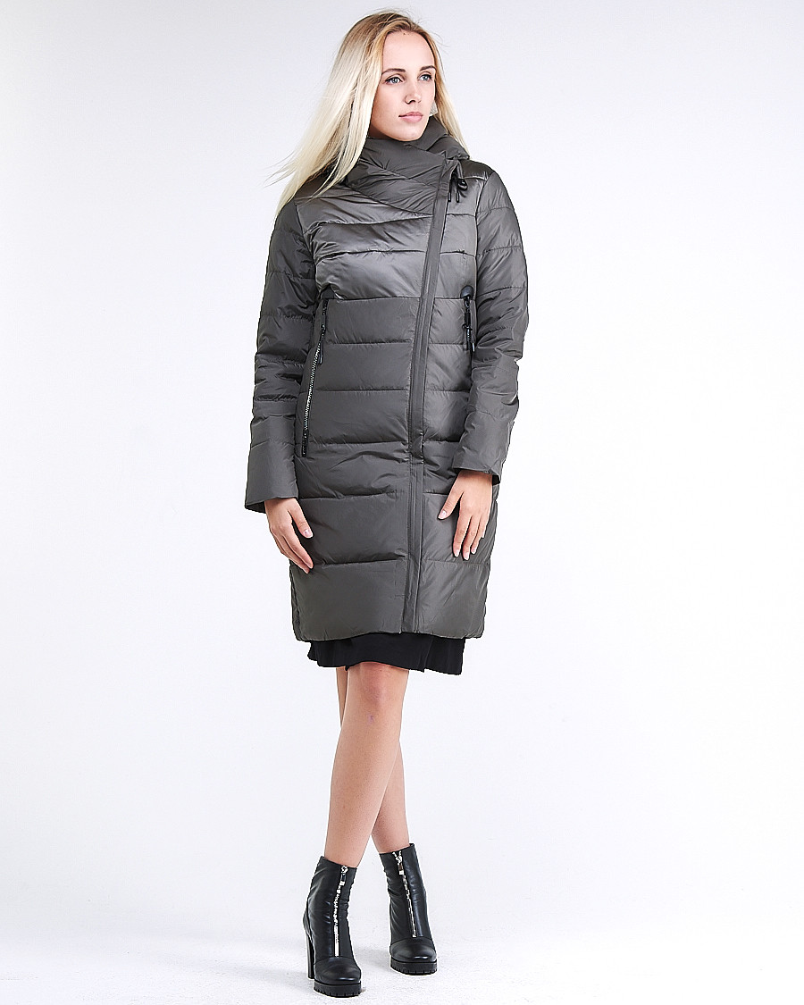Купить оптом Куртка зимняя женская молодежная стеганная светло-серого цвета 870_05SS в Екатеринбурге