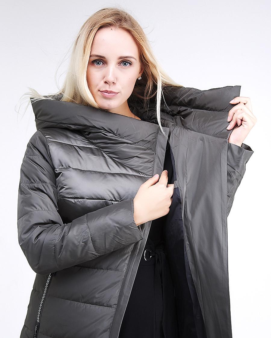 Купить оптом Куртка зимняя женская молодежная стеганная светло-серого цвета 870_05SS