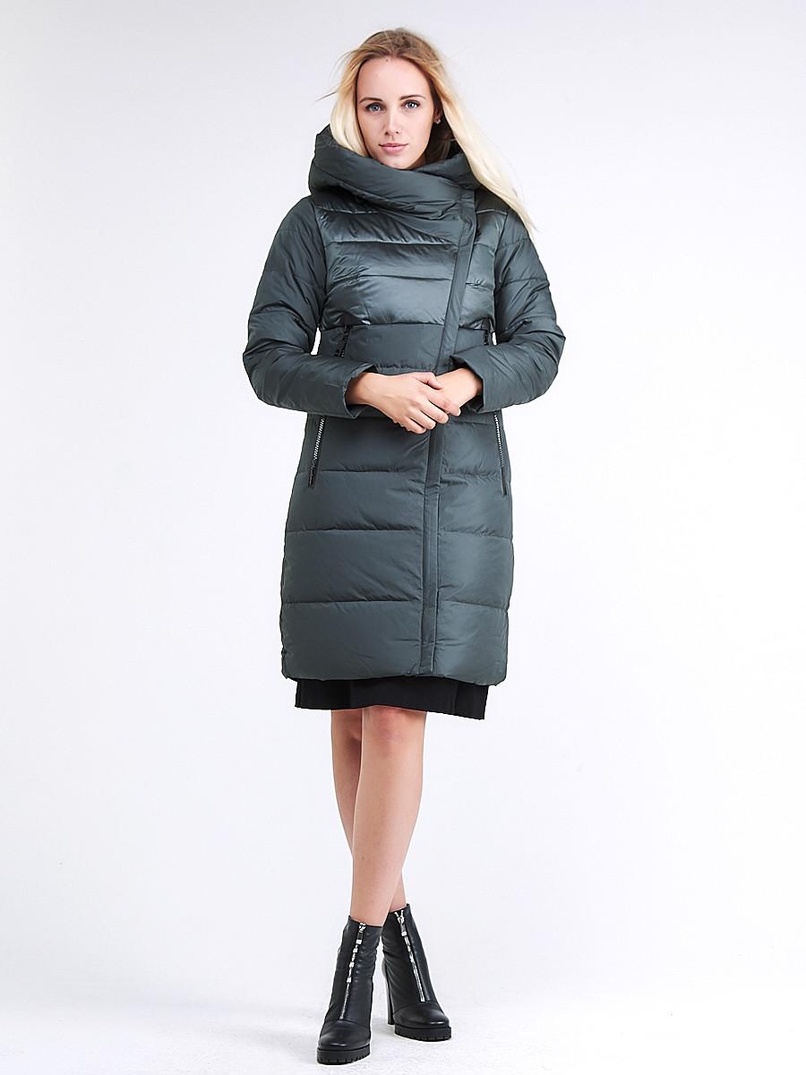 Купить оптом Куртка зимняя женская молодежная стеганная болотного цвета 870_06Bt в  Красноярске
