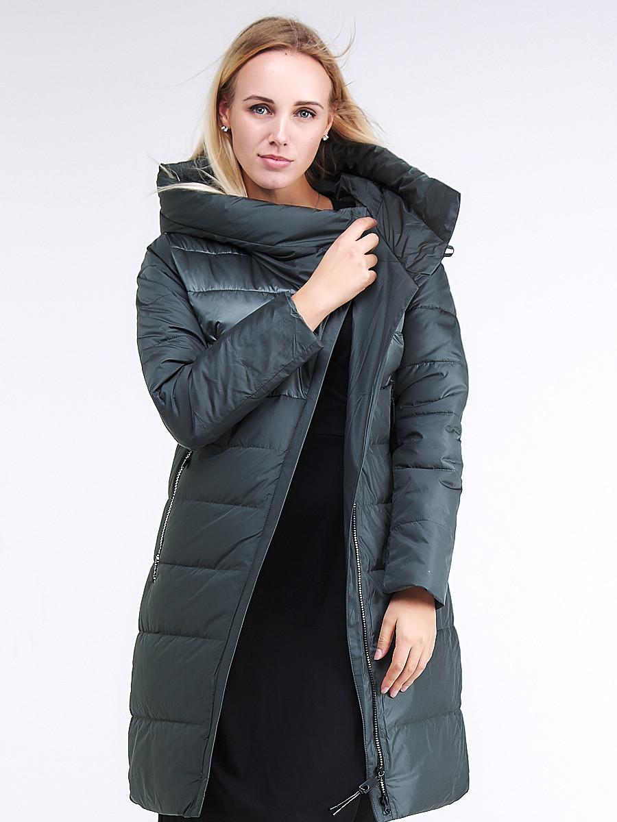 Купить оптом Куртка зимняя женская молодежная стеганная болотного цвета 870_06Bt