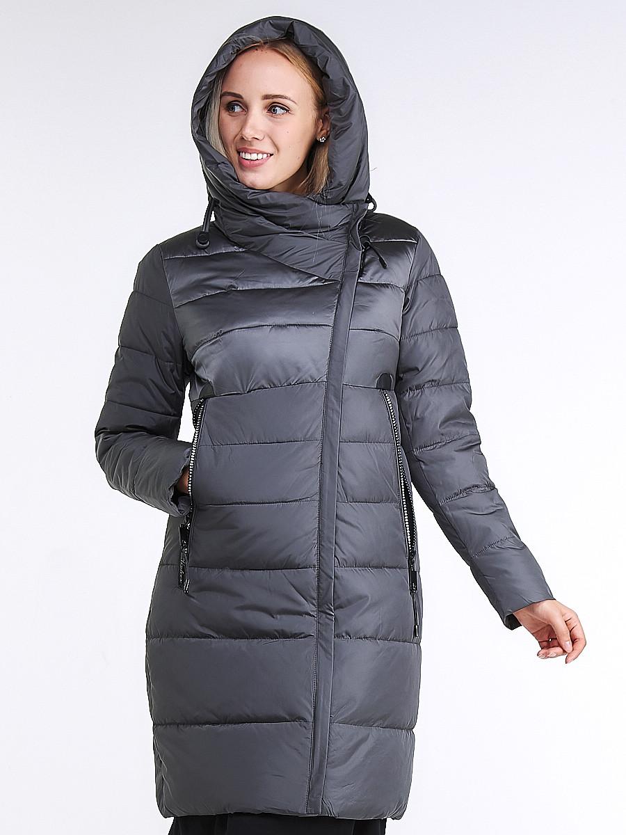 Купить оптом Куртка зимняя женская молодежная стеганная серого цвета 870_11Sr