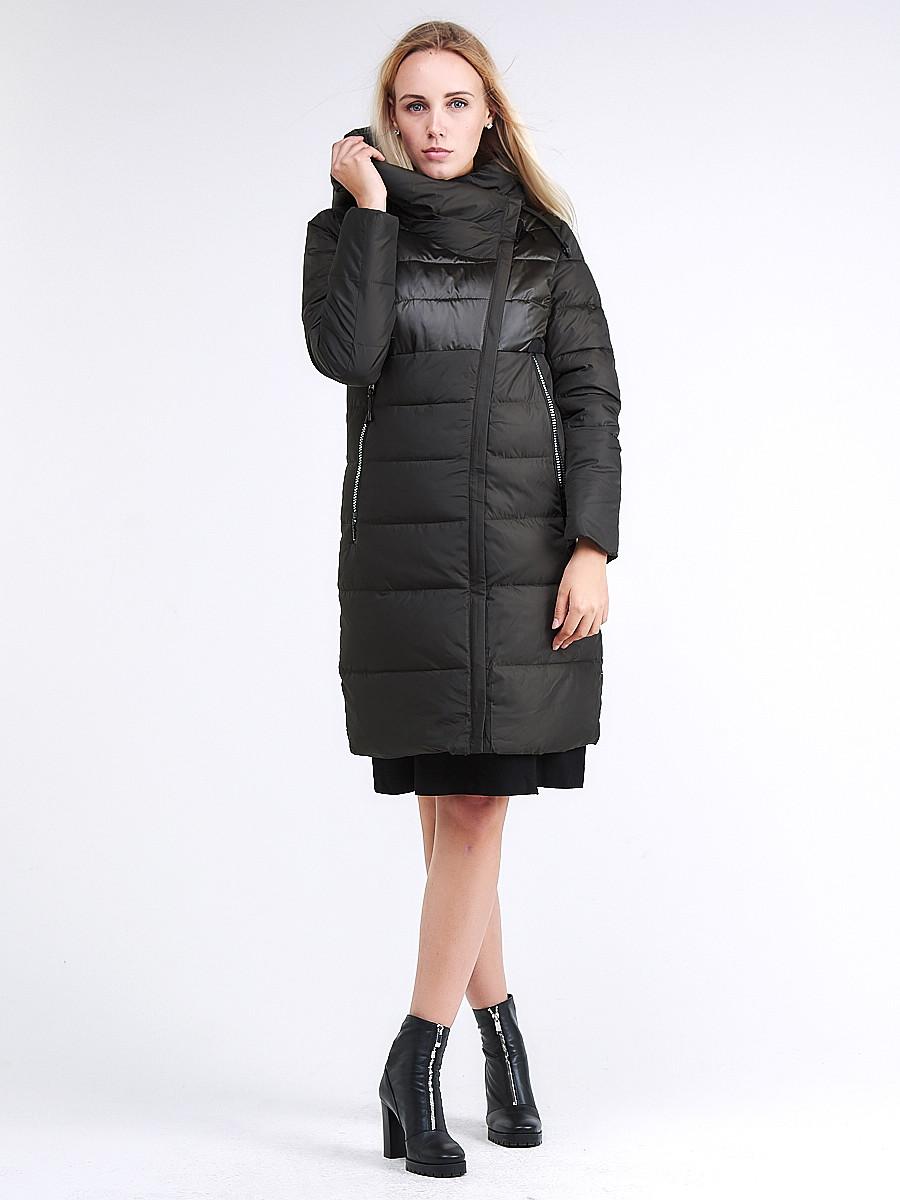 Купить оптом Куртка зимняя женская молодежная стеганная темно-серого цвета 870_13TC в Казани
