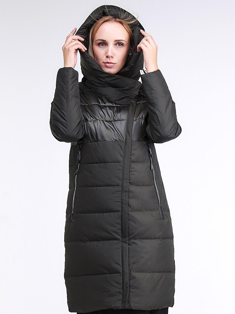Купить оптом Куртка зимняя женская молодежная стеганная темно-серого цвета 870_13TC