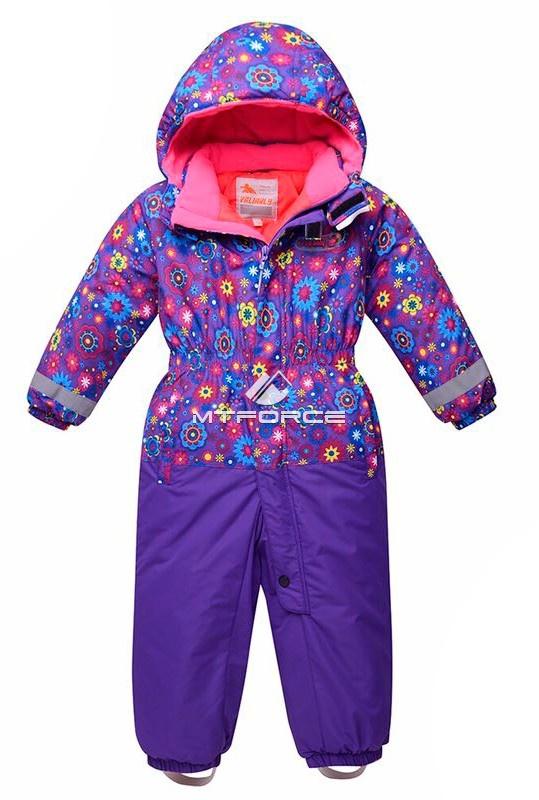 Купить оптом Комбинезон горнолыжный детский фиолетового цвета 8704F в Новосибирске