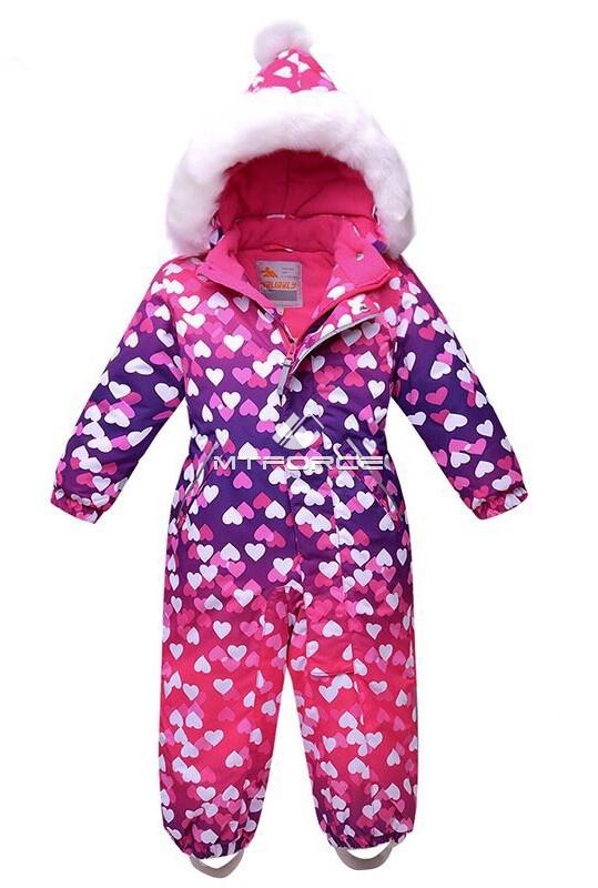 Купить оптом Комбинезон горнолыжный детский фиолетового цвета 8706F в Санкт-Петербурге