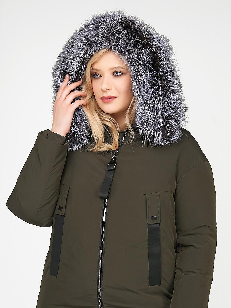 Купить оптом Куртка зимняя женская молодежная цвета  хаки 88-953_8Kh