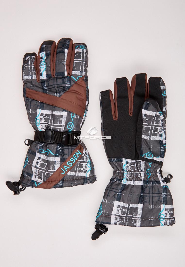 Купить оптом Перчатки мужские горнолыжные коричневого цвета 88061K