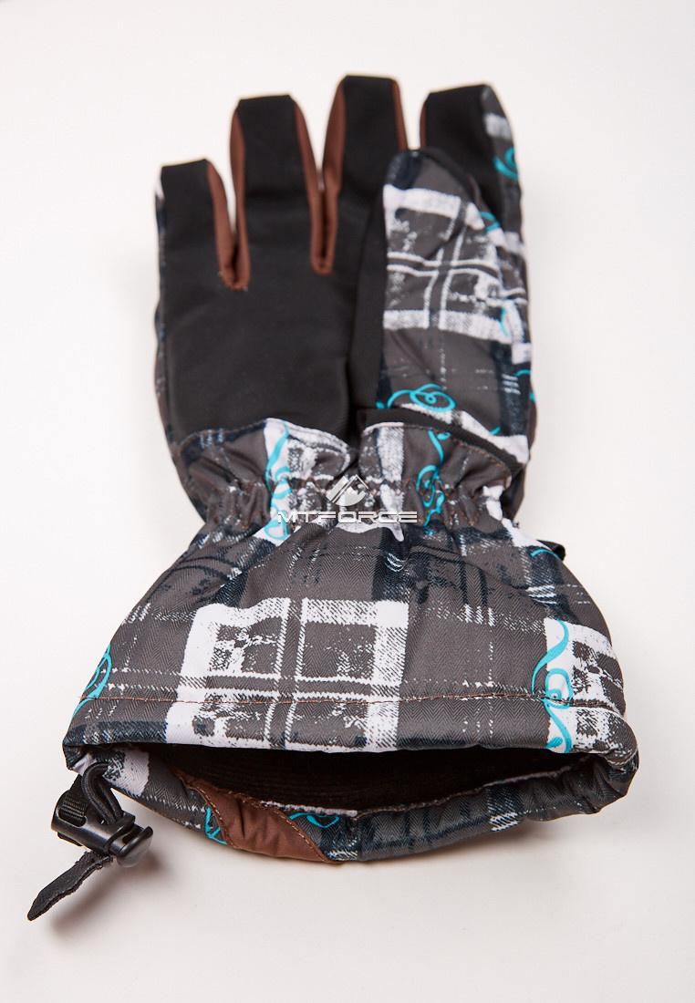 Купить оптом Перчатки мужские горнолыжные коричневого цвета 88061K в Казани