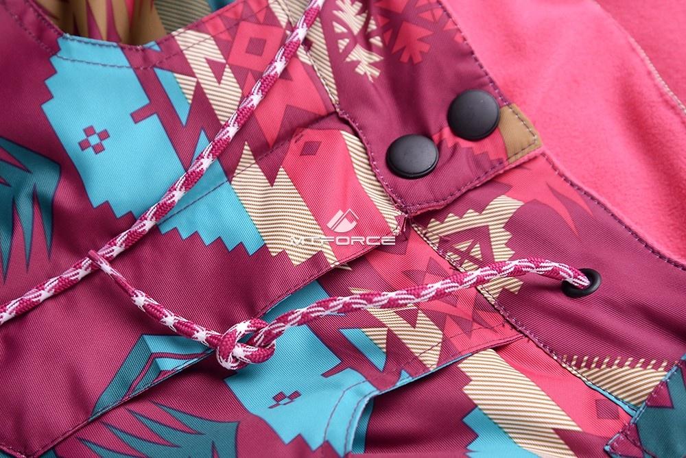 Купить оптом Горнолыжный костюм подростковый для девочки малиновый 8820М