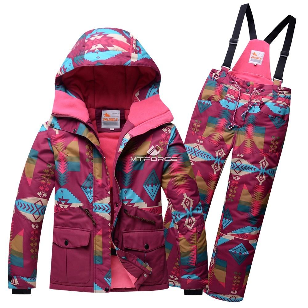 Купить оптом Горнолыжный костюм подростковый для девочки малиновый 8820М в Казани