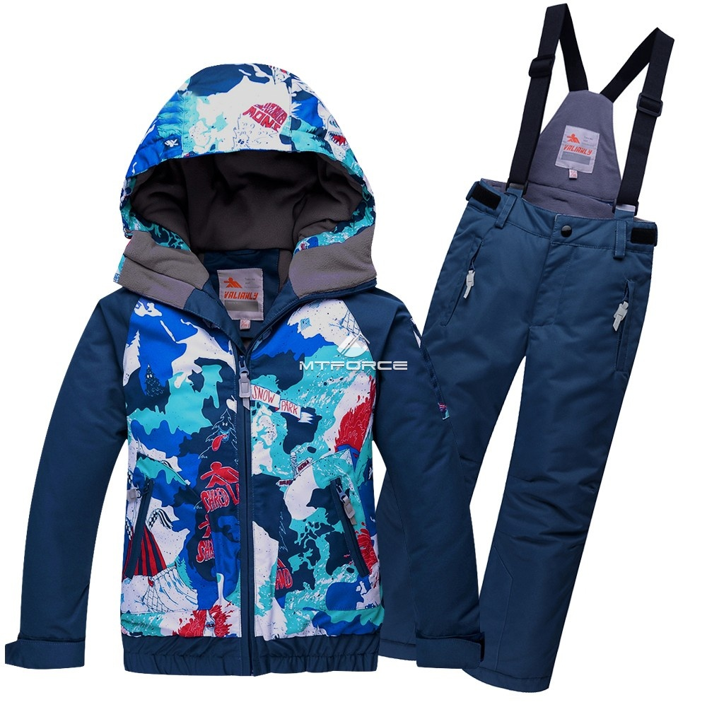 Купить оптом Горнолыжный костюм подростковый для мальчика синий 8823S в  Красноярске
