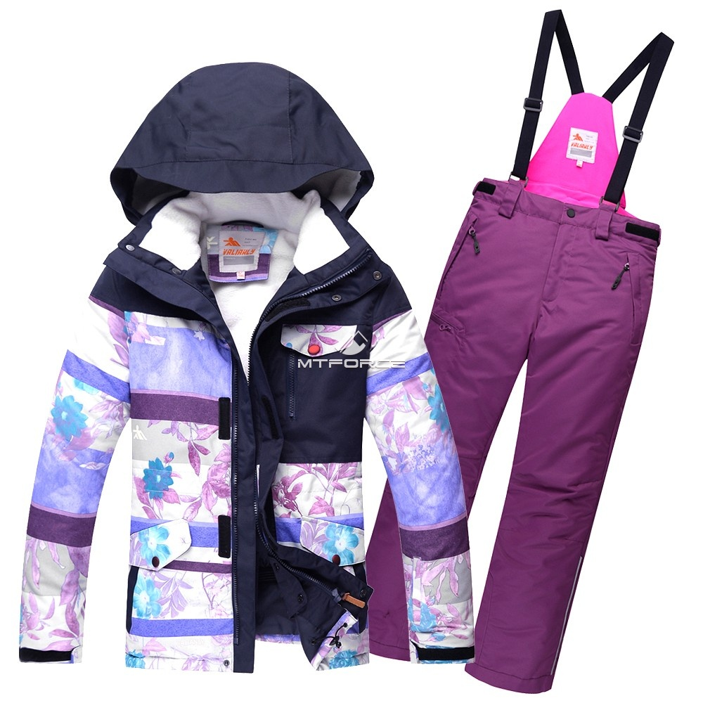 Купить оптом Горнолыжный костюм подростковый для девочки фиолетовый 8830F в Новосибирске