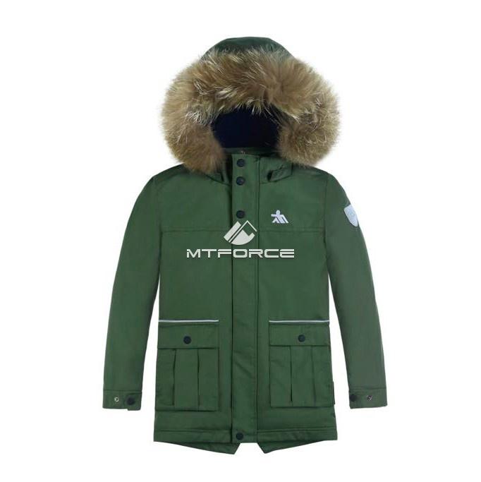 Купить оптом Куртка парка зимняя подростковая для мальчика цвета хаки 8831Kh в Екатеринбурге