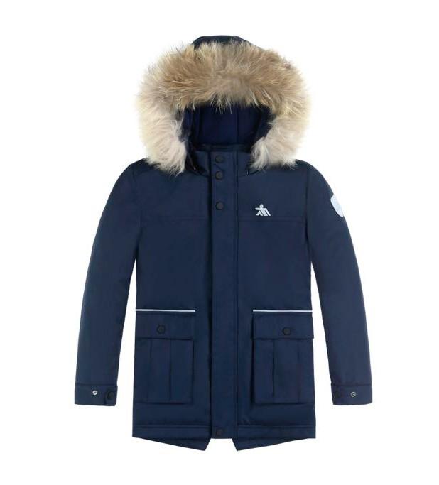 Купить оптом Куртка парка зимняя подростковая для мальчика темно-синего цвета 8831TS