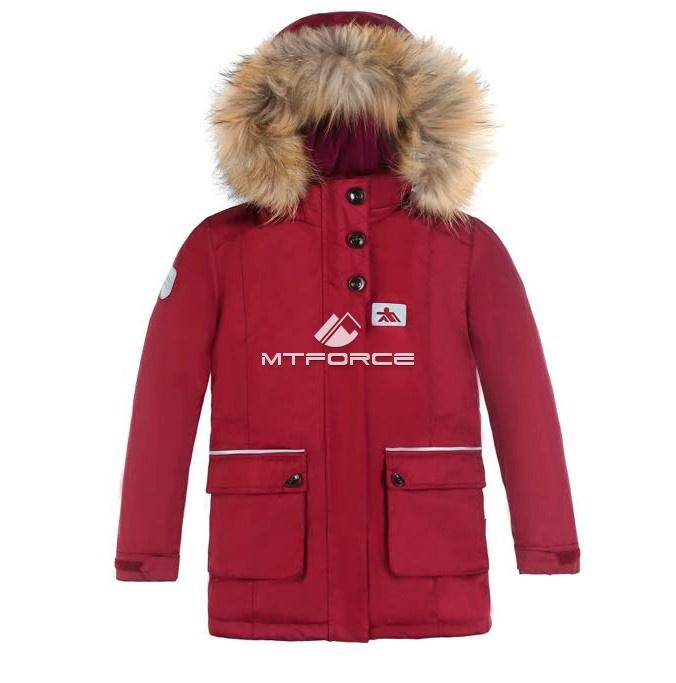 Купить оптом Куртка парка зимняя подростковая для мальчика бордового цвета 8832Bo в Воронеже