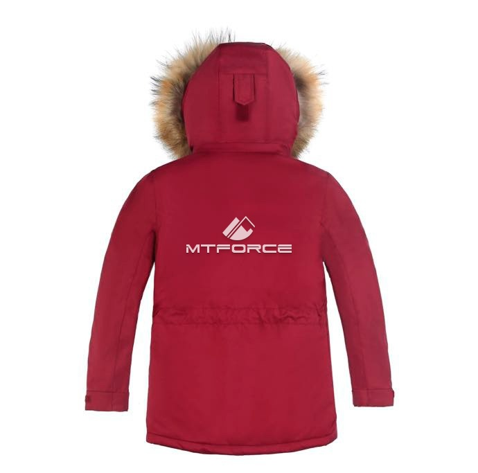 Купить оптом Куртка парка зимняя подростковая для мальчика коричневого цвета 8832K