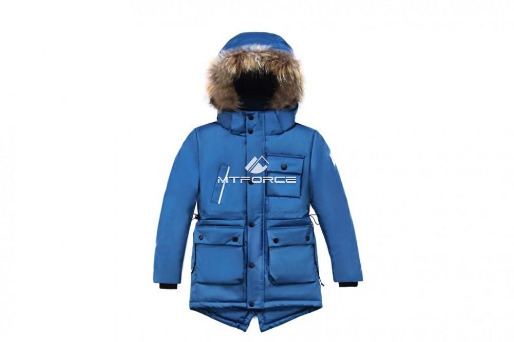 Купить оптом Куртка парка зимняя подростковая для мальчика синего цвета 8833S в Уфе