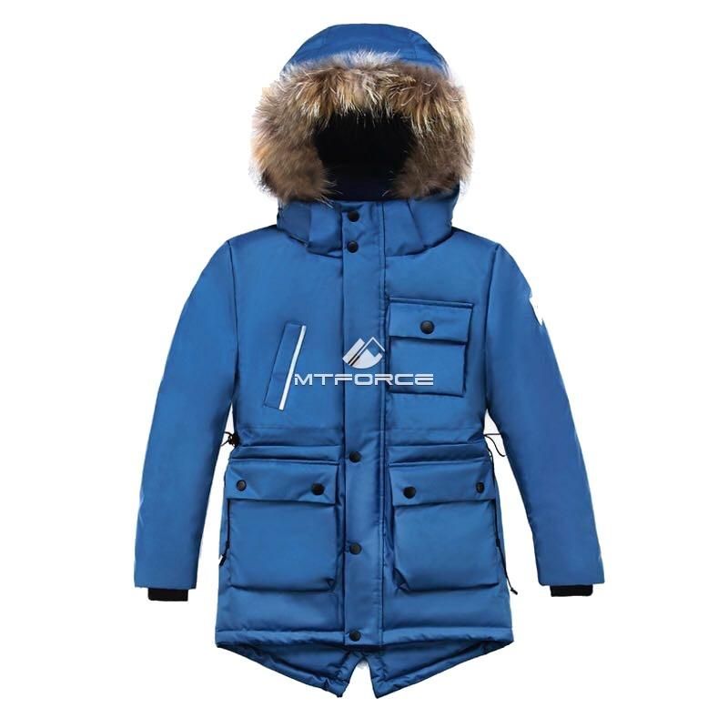 4bbfaadf4e8 Купить оптом Куртка парка зимняя подростковая для мальчика синего цвета  8833S ...