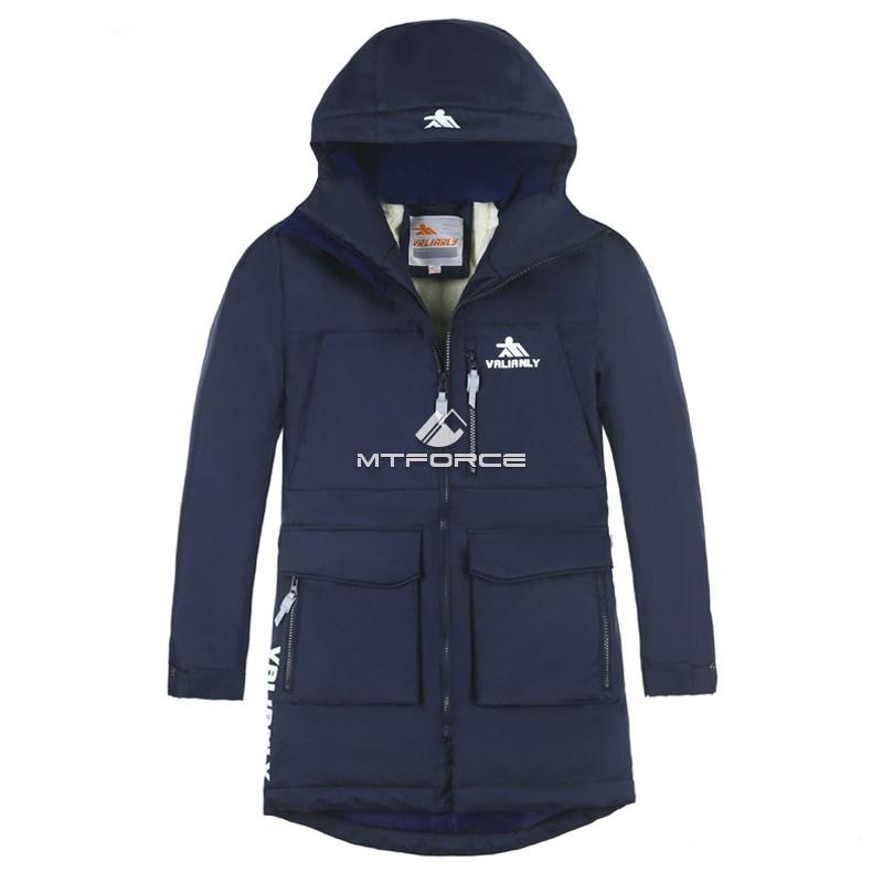 Купить оптом Куртка парка зимняя подростковая для мальчика темно-синего цвета 8835TS