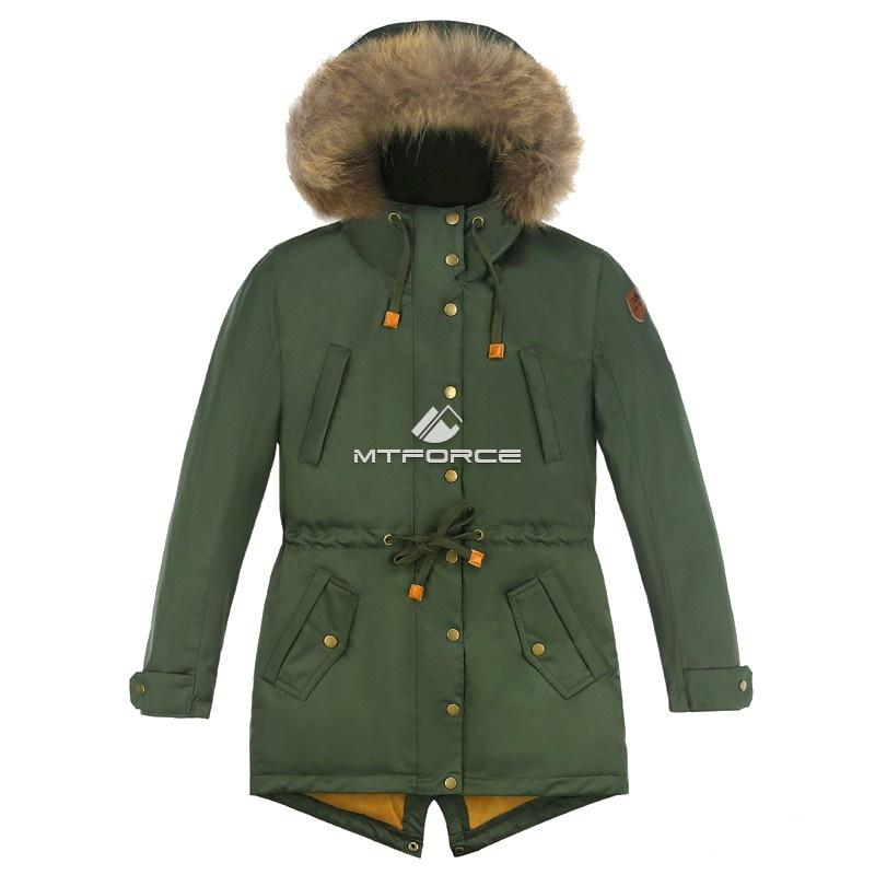 Купить оптом Куртка парка зимняя подростковая для мальчика цвета хаки 8836Kh в Воронеже