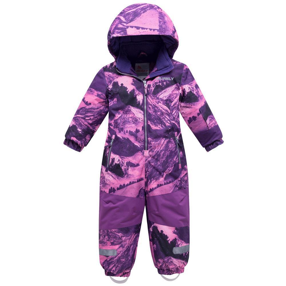 Купить оптом Комбинезон для девочки зимний фиолетового цвета 8908F в Нижнем Новгороде