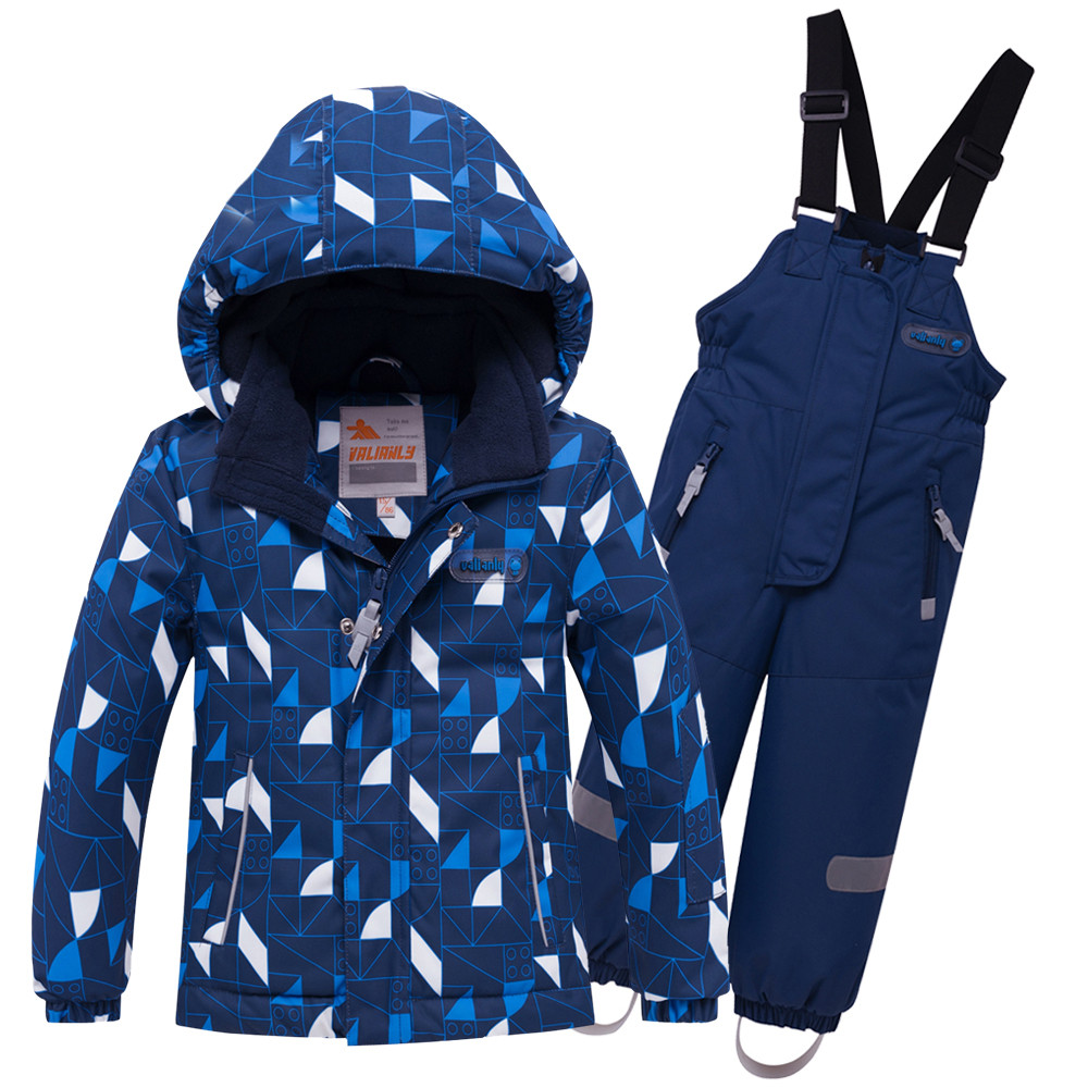 Купить оптом Горнолыжный костюм детский темно-синего цвета 8911TS в Казани