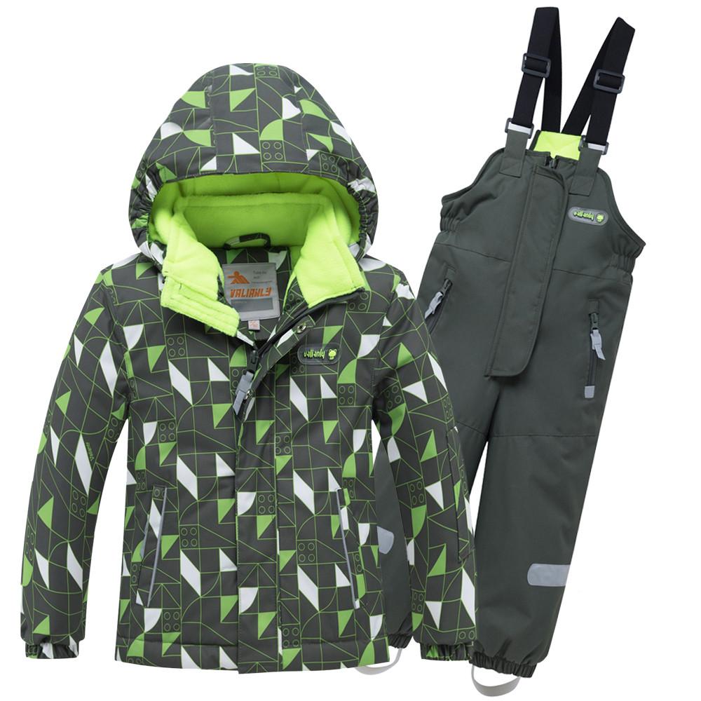 Купить оптом Горнолыжный костюм детский цвета хаки 8911Kh в  Красноярске