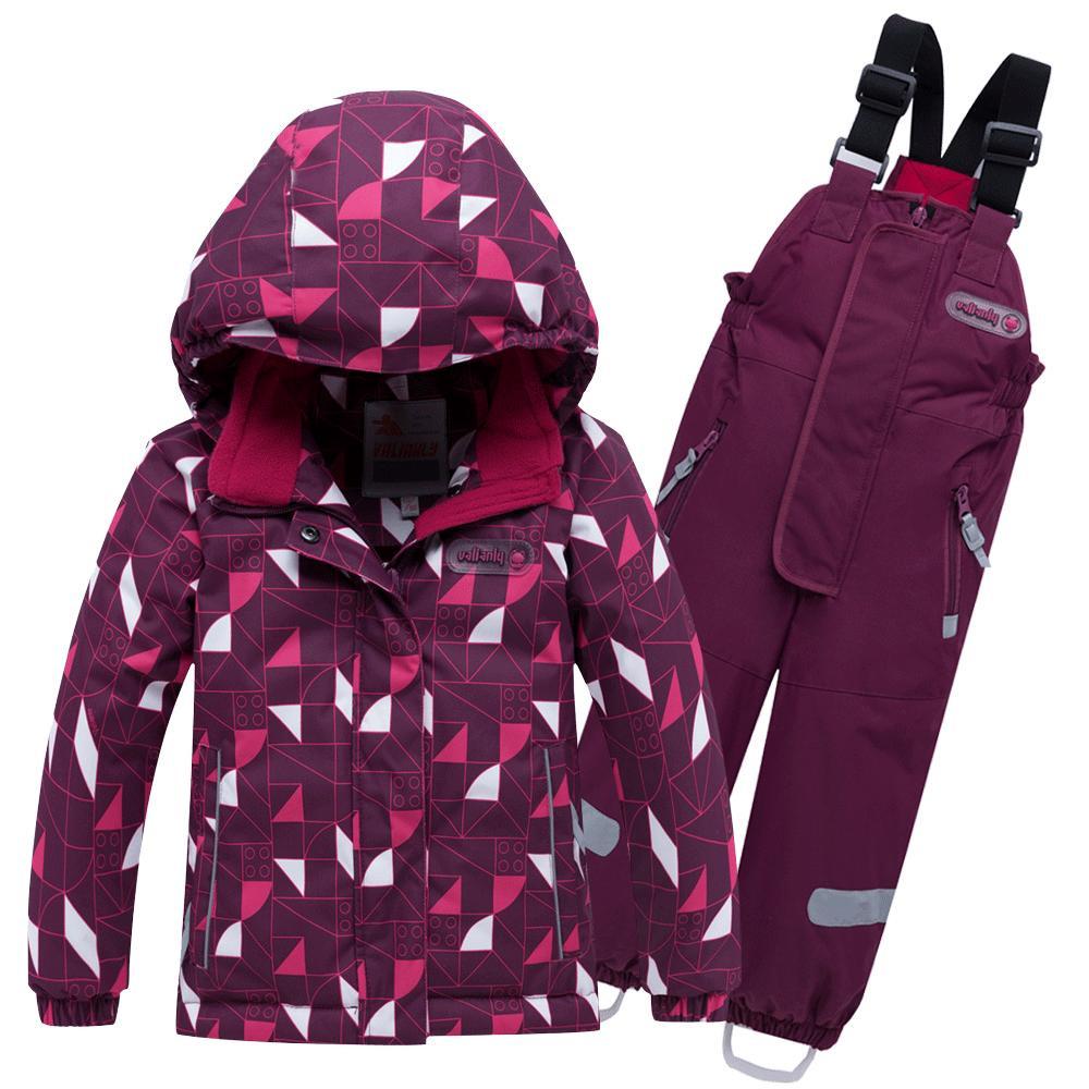 Купить оптом Горнолыжный костюм детский малинового цвета 8912М в  Красноярске