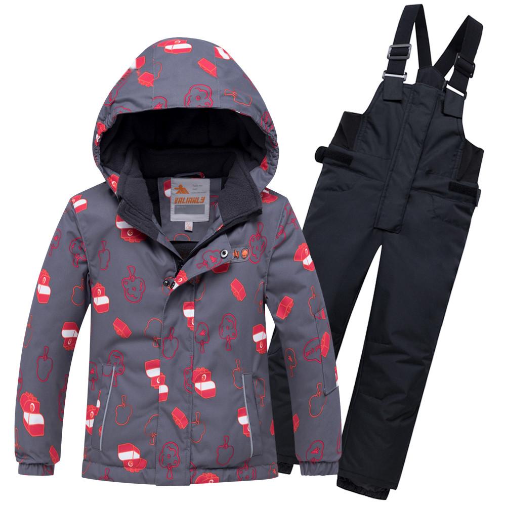 Купить оптом Горнолыжный костюм детский темно-серого цвета 8913TC