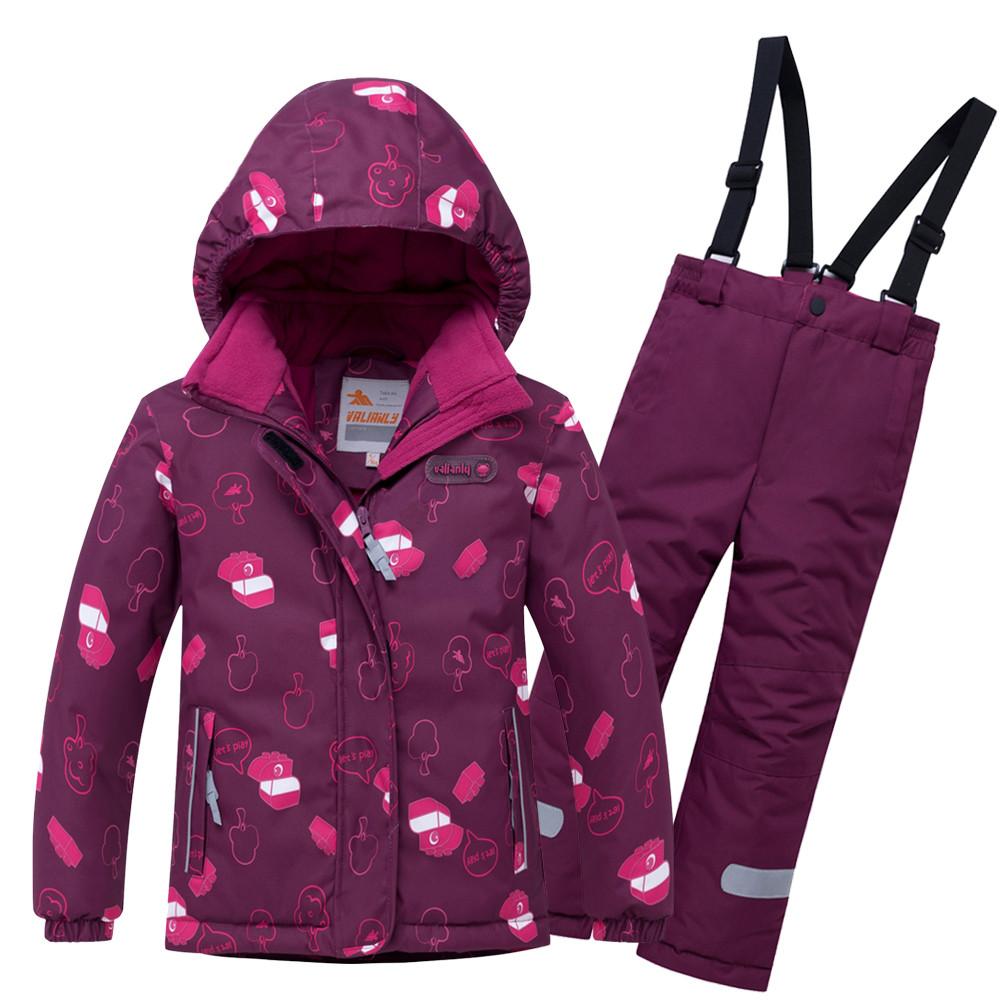 Купить оптом Горнолыжный костюм детский малинового цвета 8914M в Екатеринбурге